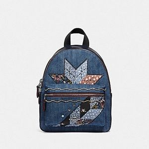 Mini Charlie backpack with denim patchwork